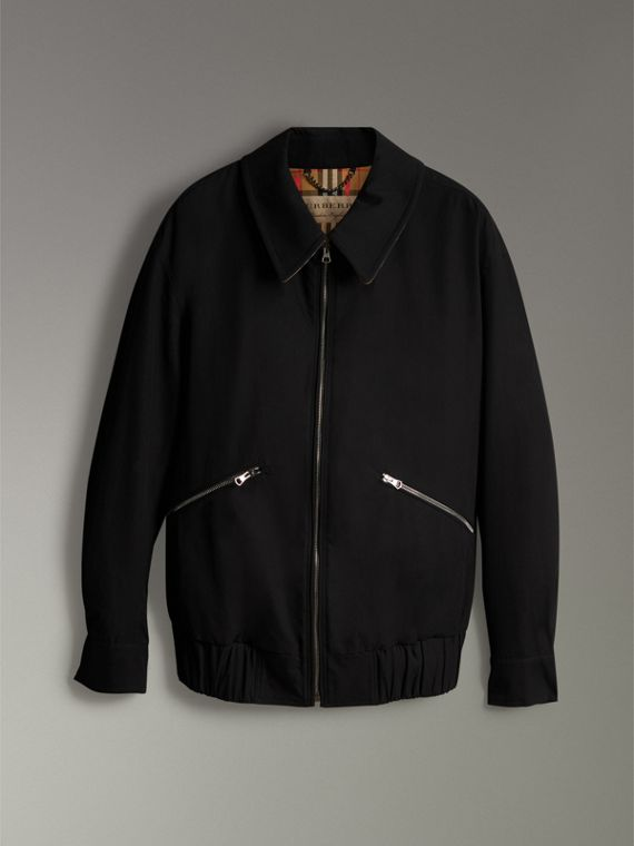 Tropical Gabardine Harrington Jacket in Black - Men | Burberry United Kingdom - cell image 3