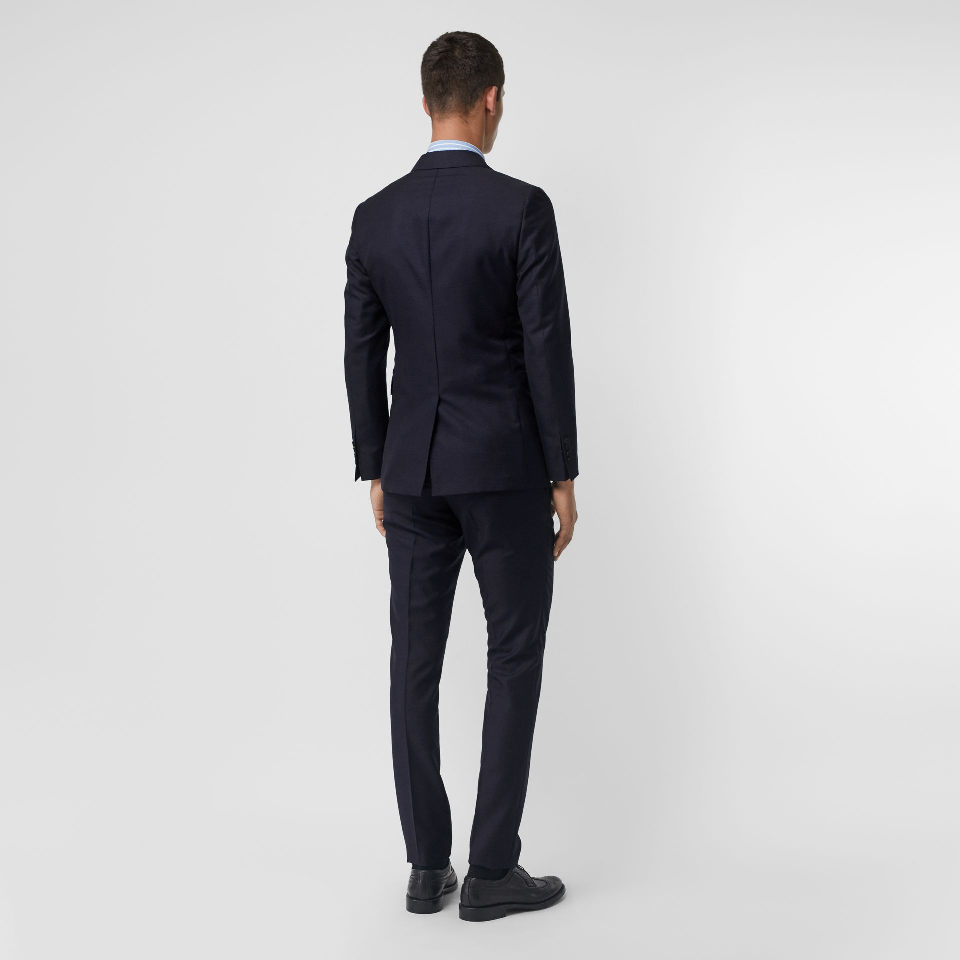 Slim Fit Wool Mohair Silk Suit in Navy - Men | Burberry - gallery image 2
