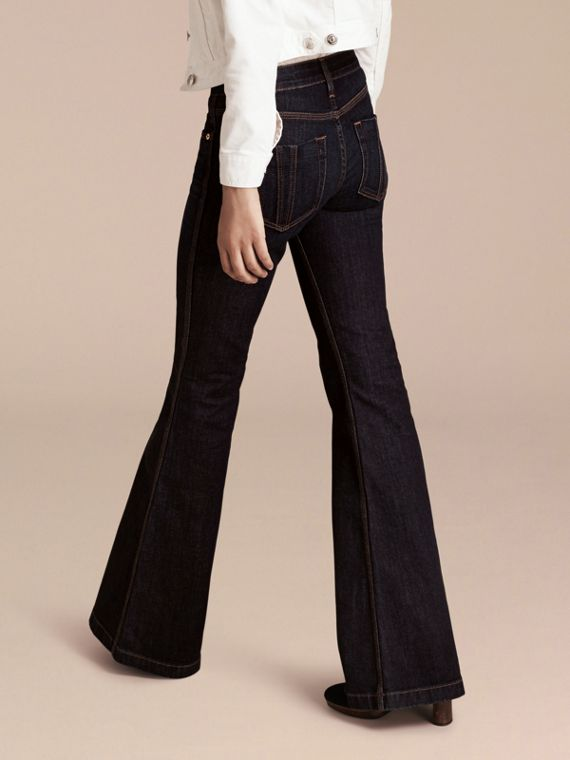 Mid indigo Flared Stretch Denim Jeans - cell image 2