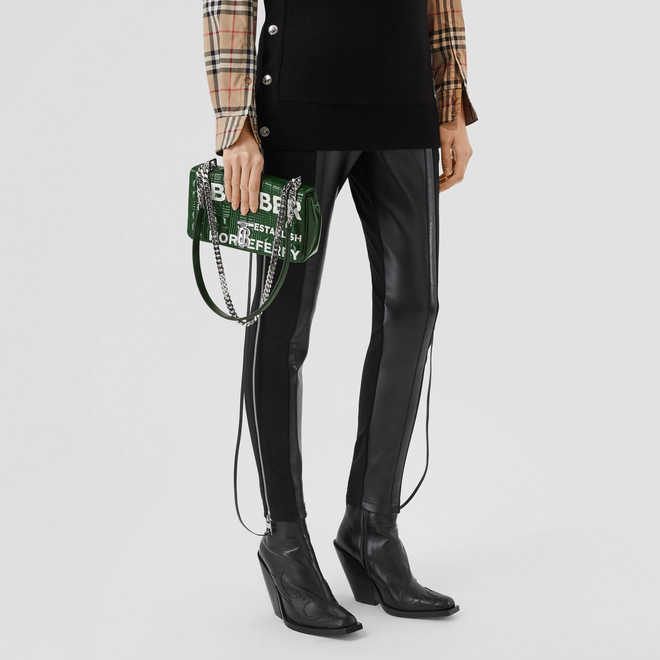 Small Horseferry Print Quilted Lola Bag in Dark Pine Green/white - Women | Burberry Canada - 3