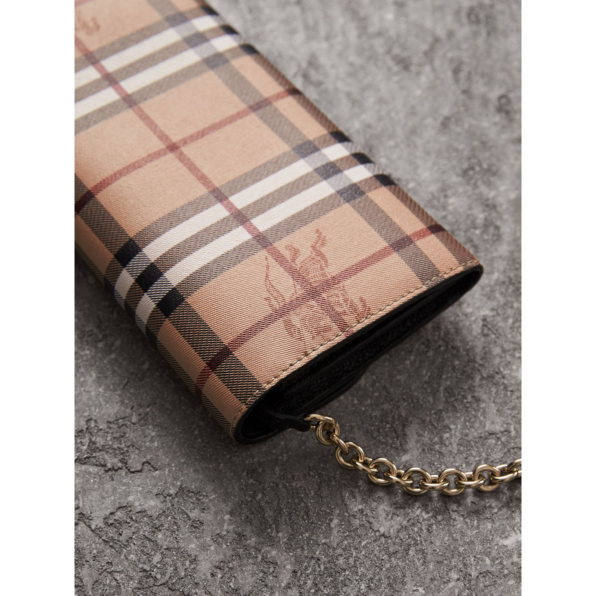 Leather Trim Haymarket Check Wallet with Chain in Black - Women | Burberry - gallery image 2