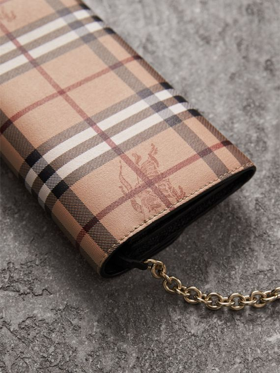 Leather Trim Haymarket Check Wallet with Chain in Black - Women | Burberry Singapore - cell image 2