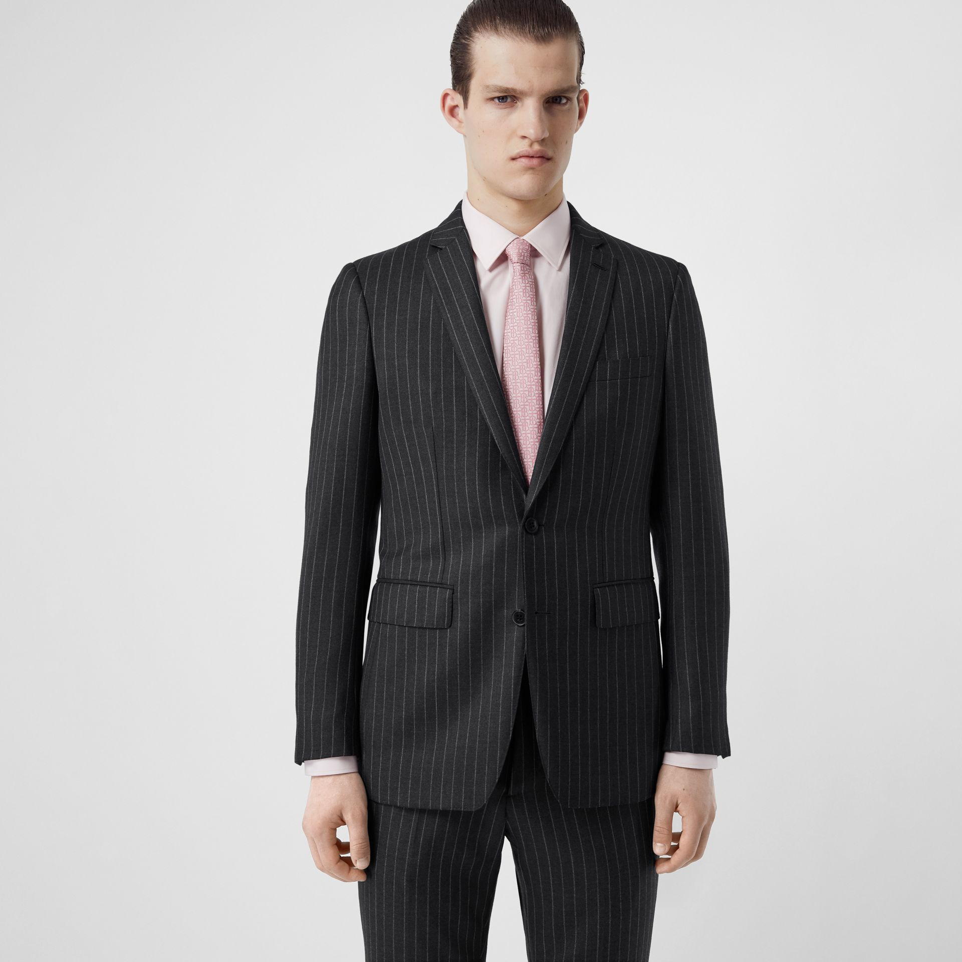 English Fit Pinstriped Wool Suit in Mid Grey Melange - Men | Burberry Australia - gallery image 6