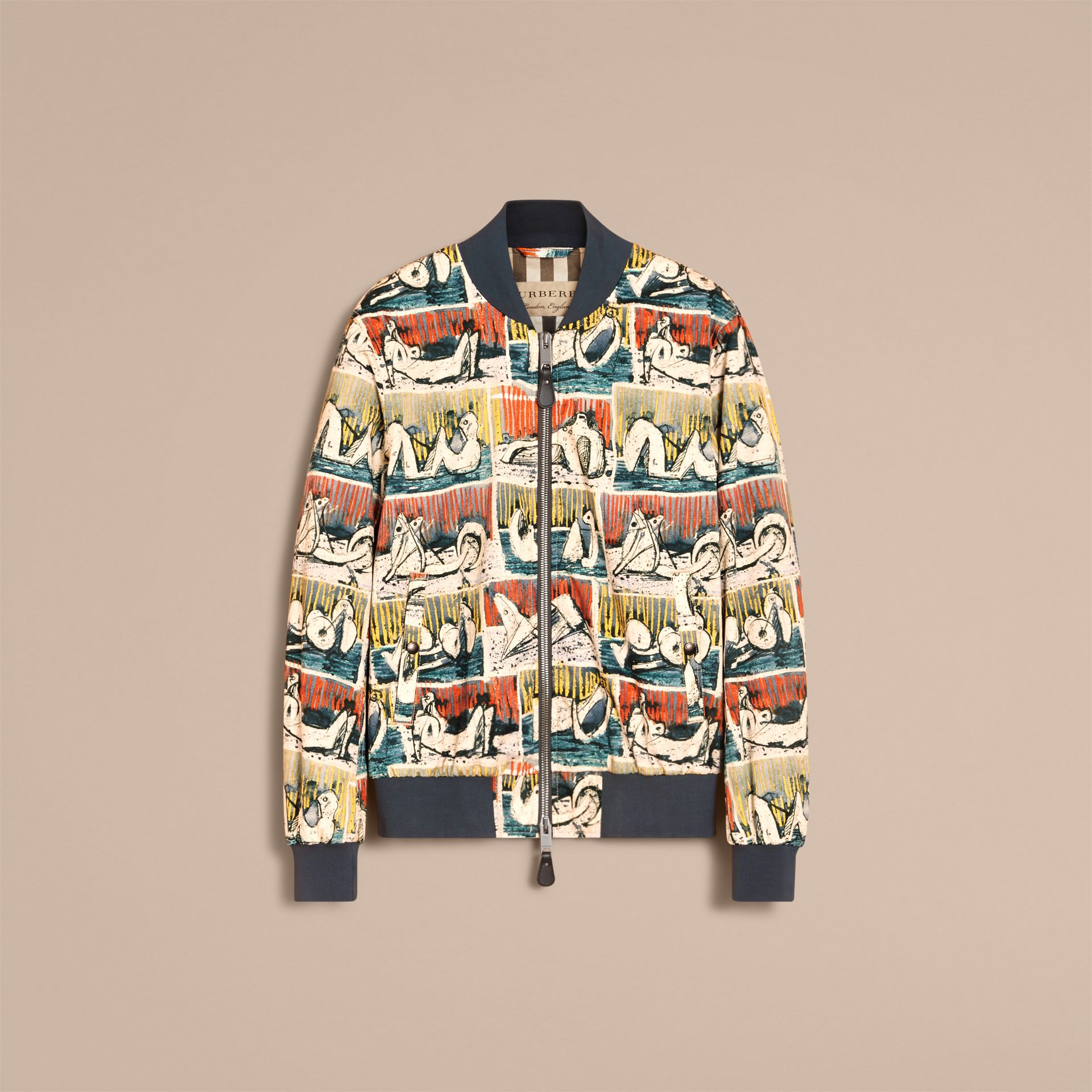 Reclining Figures Print Cotton Bomber Jacket in Stone Blue - Men | Burberry - gallery image 4