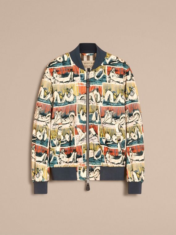 Reclining Figures Print Cotton Bomber Jacket in Stone Blue - Men | Burberry - cell image 3