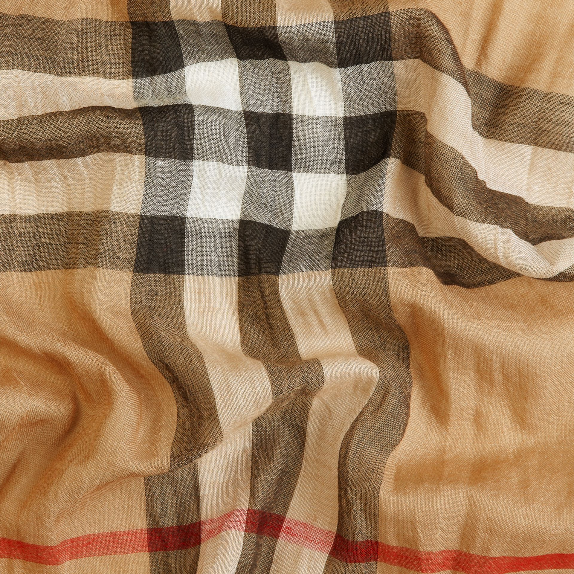 Exploded Check Wool Silk Scarf Camel - gallery image 2