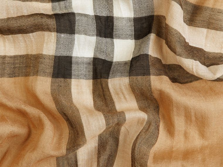 Exploded Check Wool Silk Scarf in Camel | Burberry - cell image 1