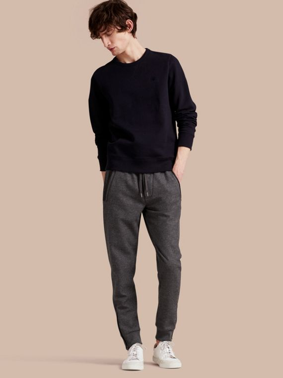 Leather-trimmed Technical Wool Sweat Pants