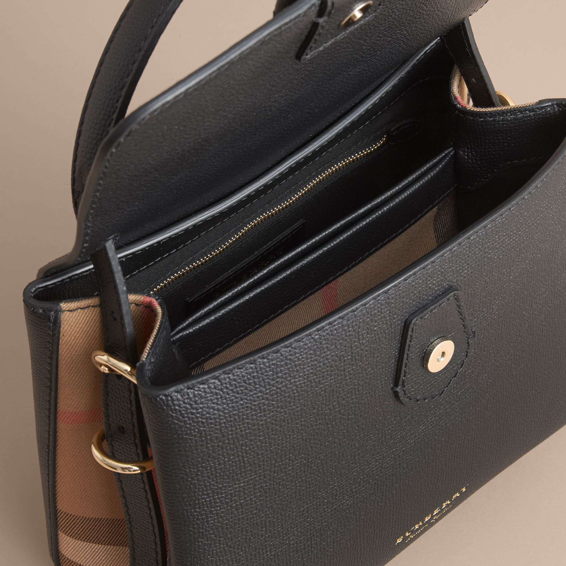 Small Grainy Leather and House Check Tote Bag Black - gallery image 6