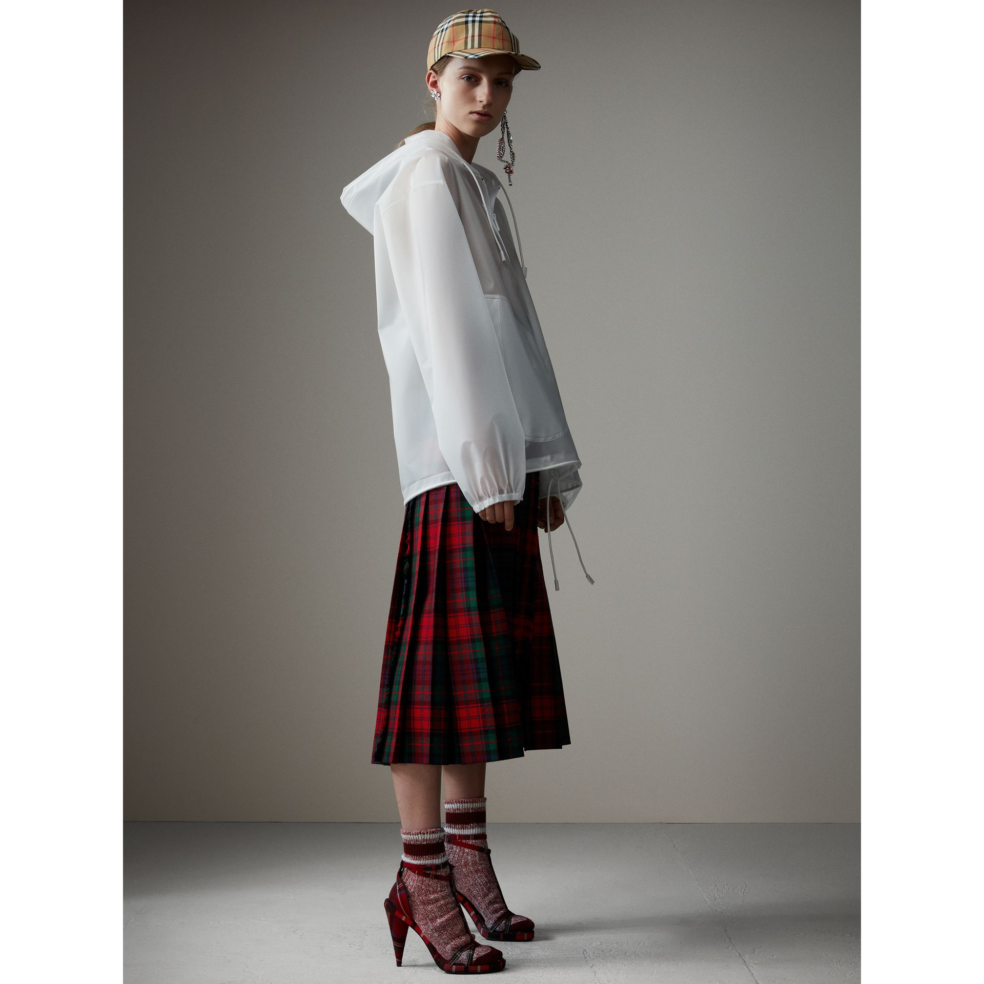 Soft-touch Plastic Cagoule in White - Women | Burberry United Kingdom - gallery image 4