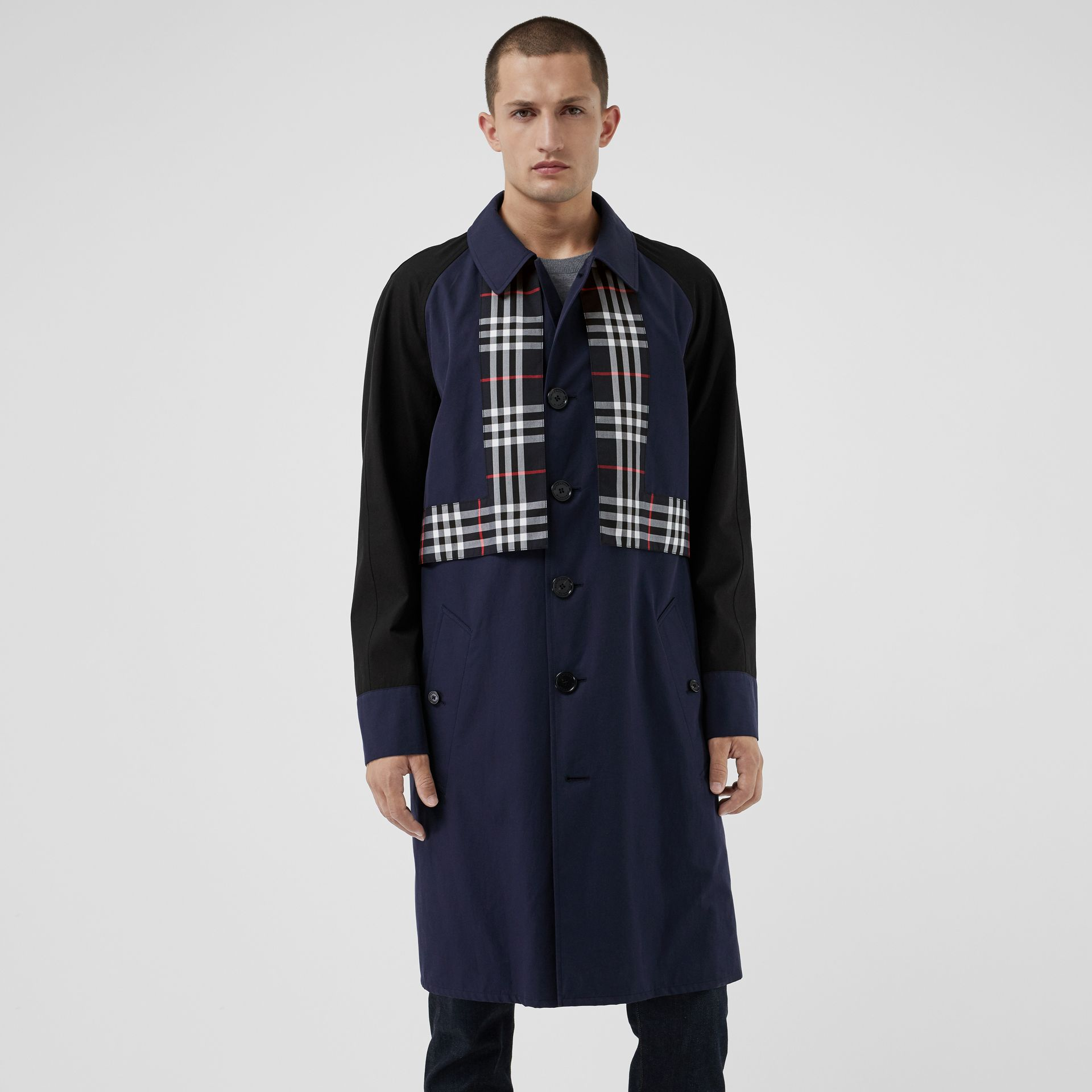 Check Detail Tropical Gabardine Car Coat in Midnight Blue - Men | Burberry - gallery image 5