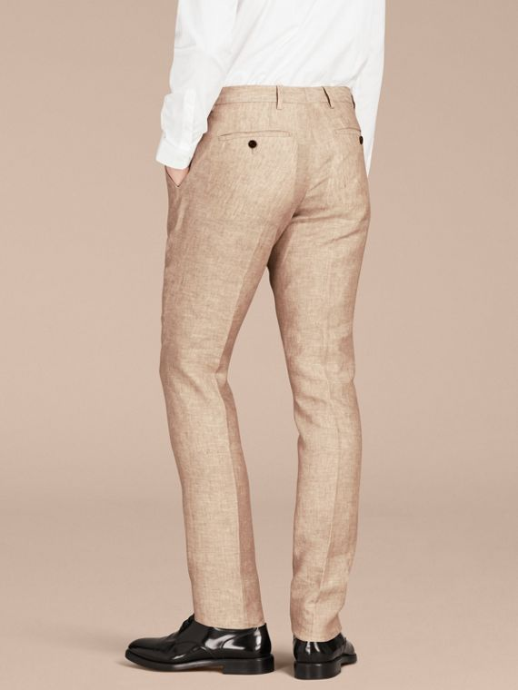 Pale stone Modern Fit Linen Trousers - cell image 2