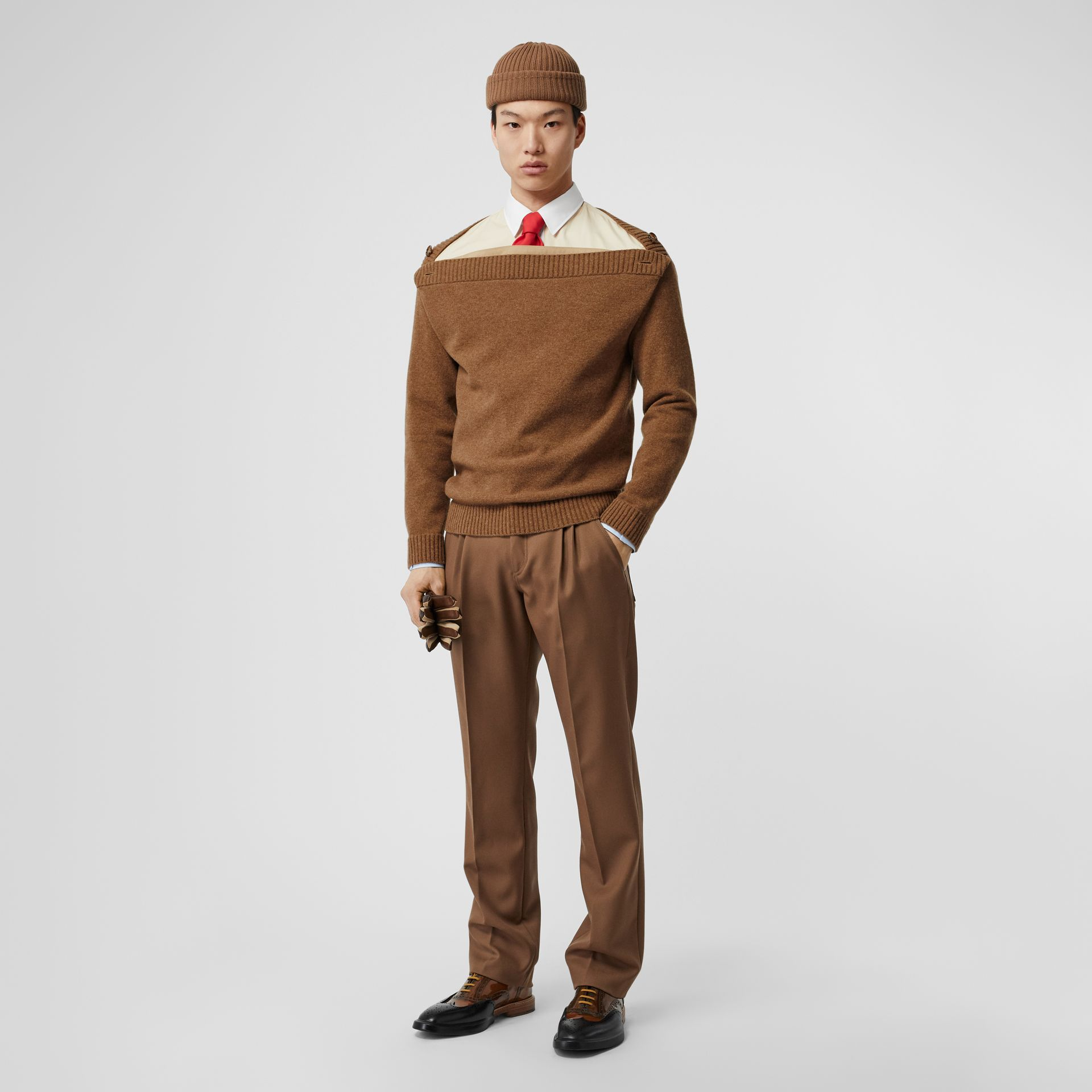 Boat Neck Wool Sweater in Dark Walnut - Men | Burberry - gallery image 0