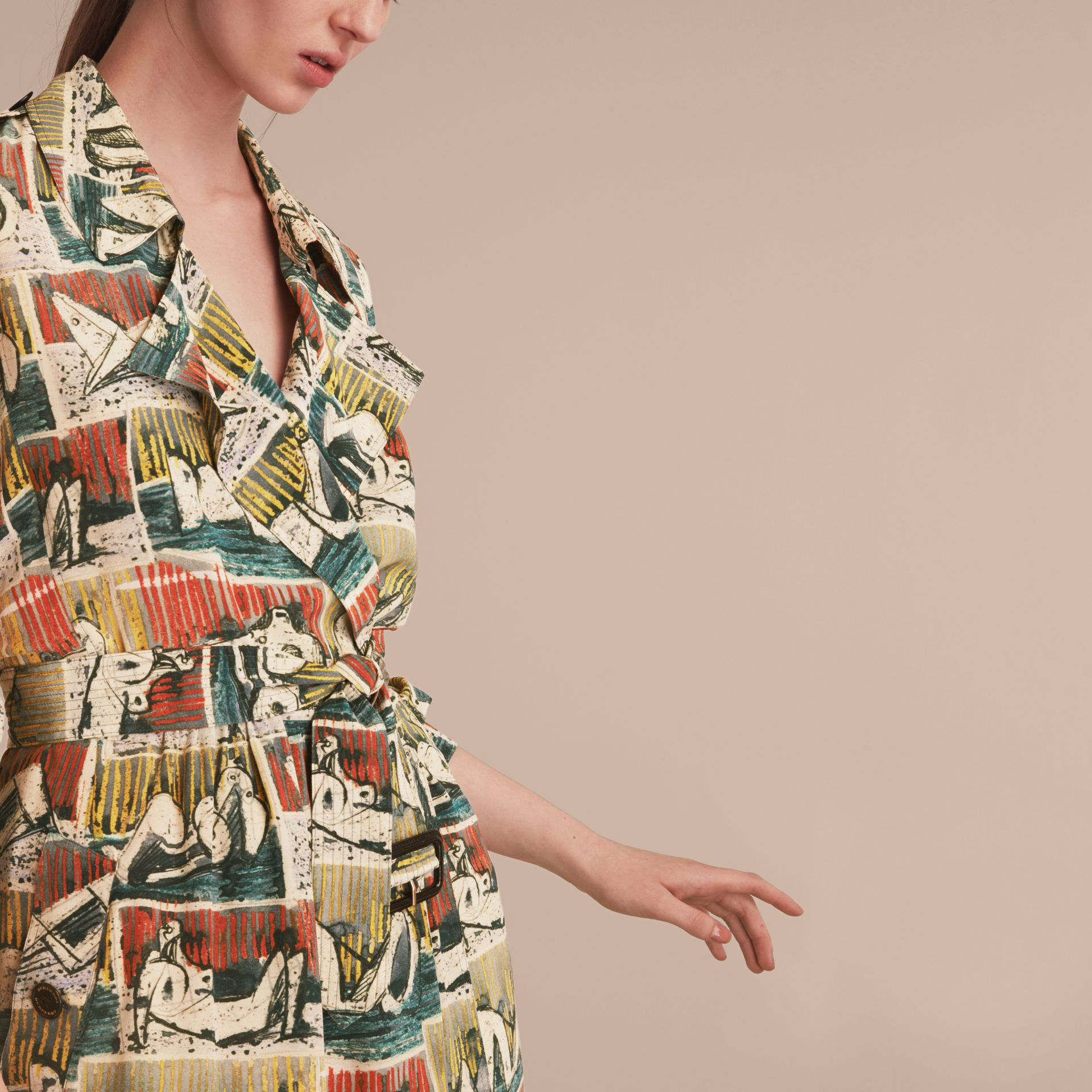 Silk Wrap Trench Dress with Reclining Figures Print in Stone Blue - Women | Burberry - gallery image 5