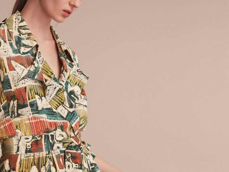 Silk Wrap Trench Dress with Reclining Figures Print in Stone Blue - Women | Burberry - cell image 4