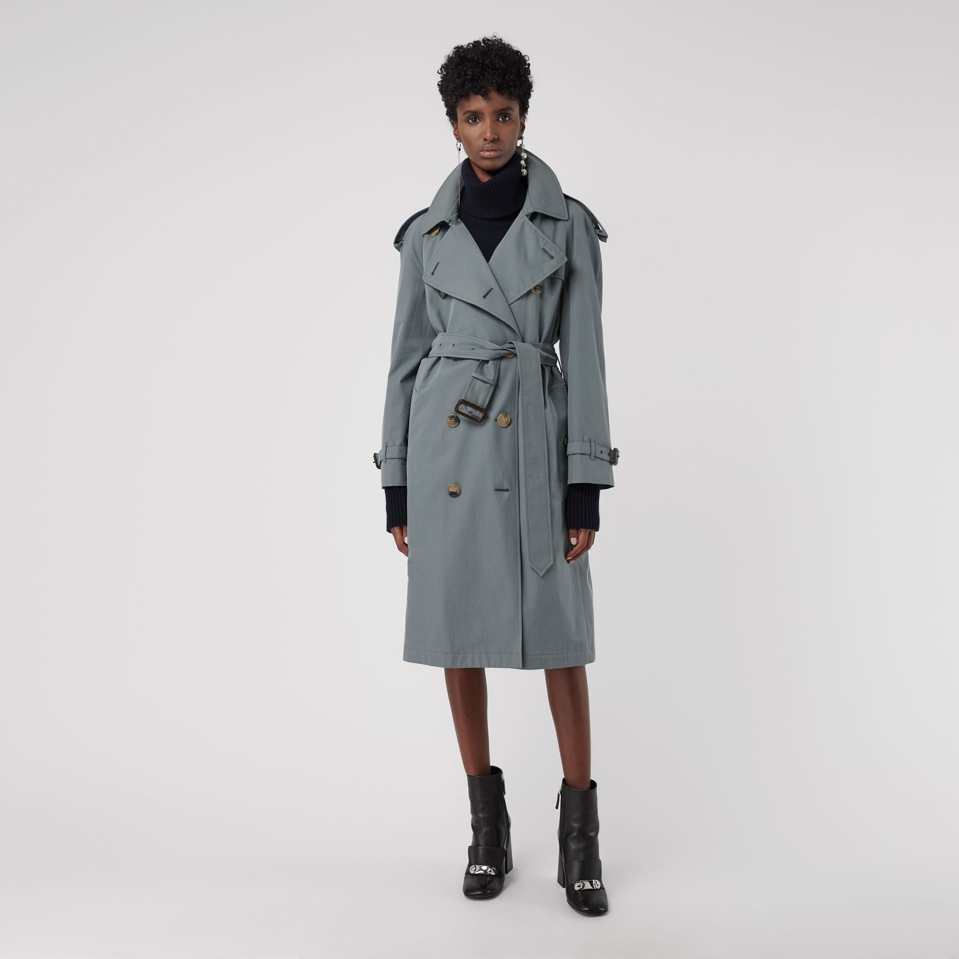 Wool-lined Tropical Gabardine Trench Coat in Dusty Blue - Women | Burberry - gallery image 6
