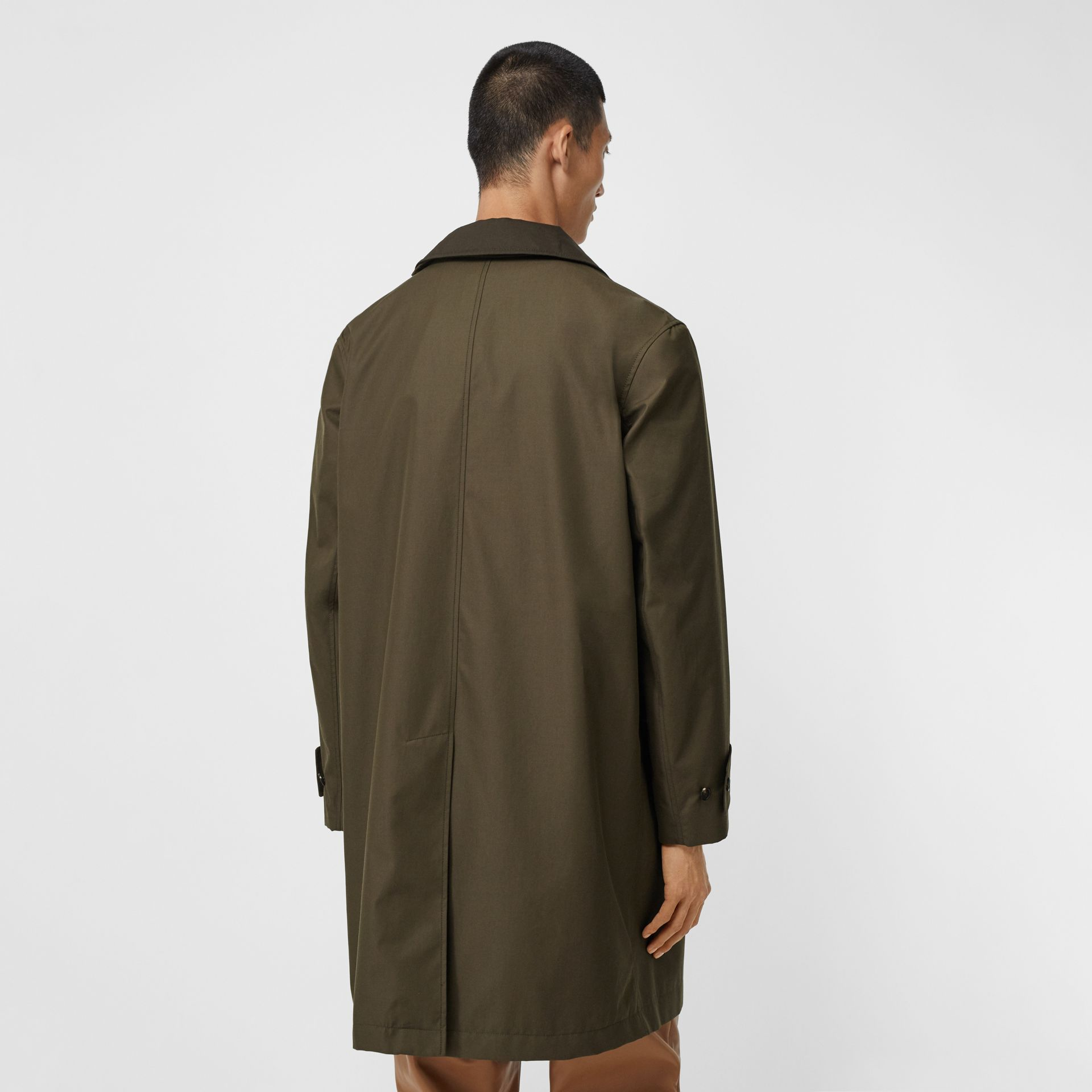 Vintage Check Detail Cotton Gabardine Car Coat in Dark Khaki Green - Men | Burberry - gallery image 2