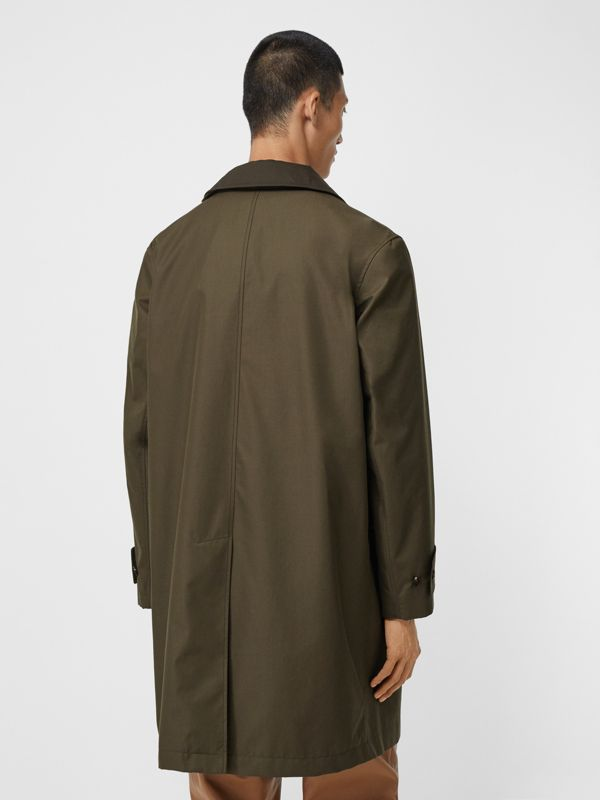 Vintage Check Detail Cotton Gabardine Car Coat in Dark Khaki Green - Men | Burberry - cell image 2