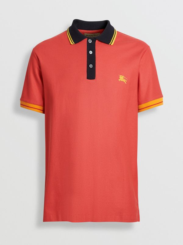 Tipped Cotton Piqué Polo Shirt in Pale Russet - Men | Burberry - cell image 3