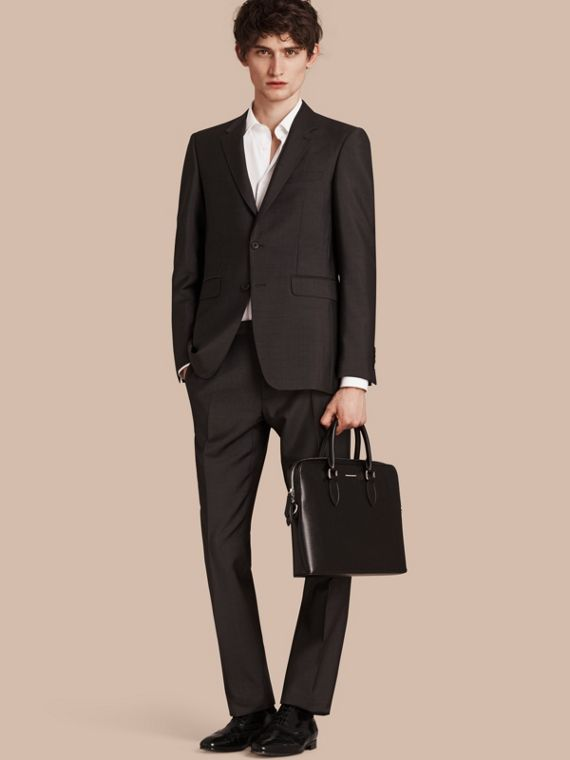 Modern Fit Wool Mohair Part-canvas Suit Dark Grey