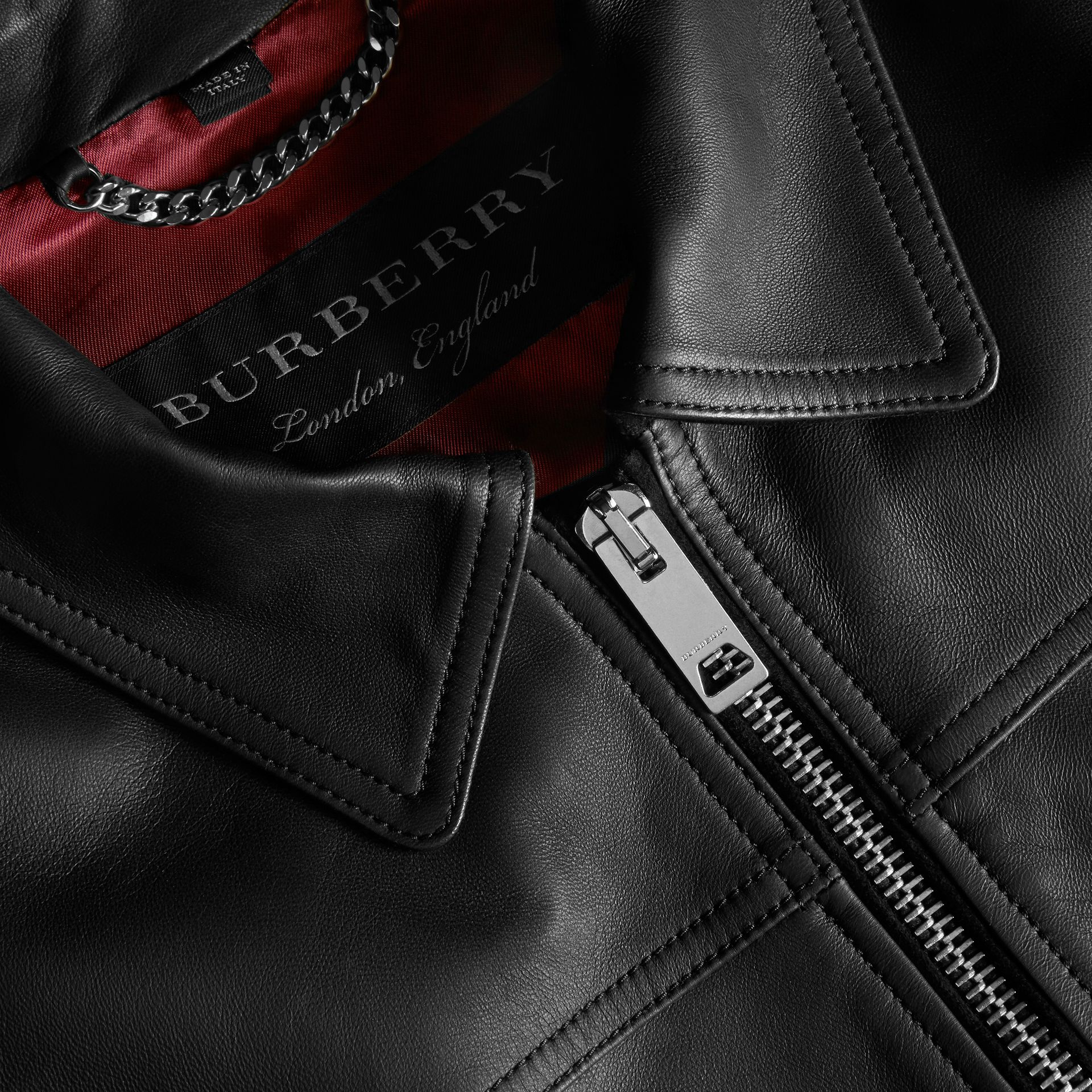 Black Smooth Leather Jacket - gallery image 2