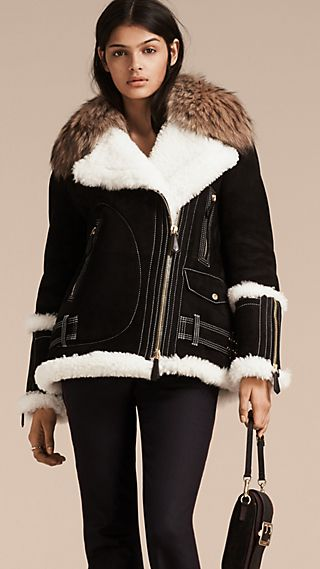 Fur-trim Suede and Shearling Aviator Jacket