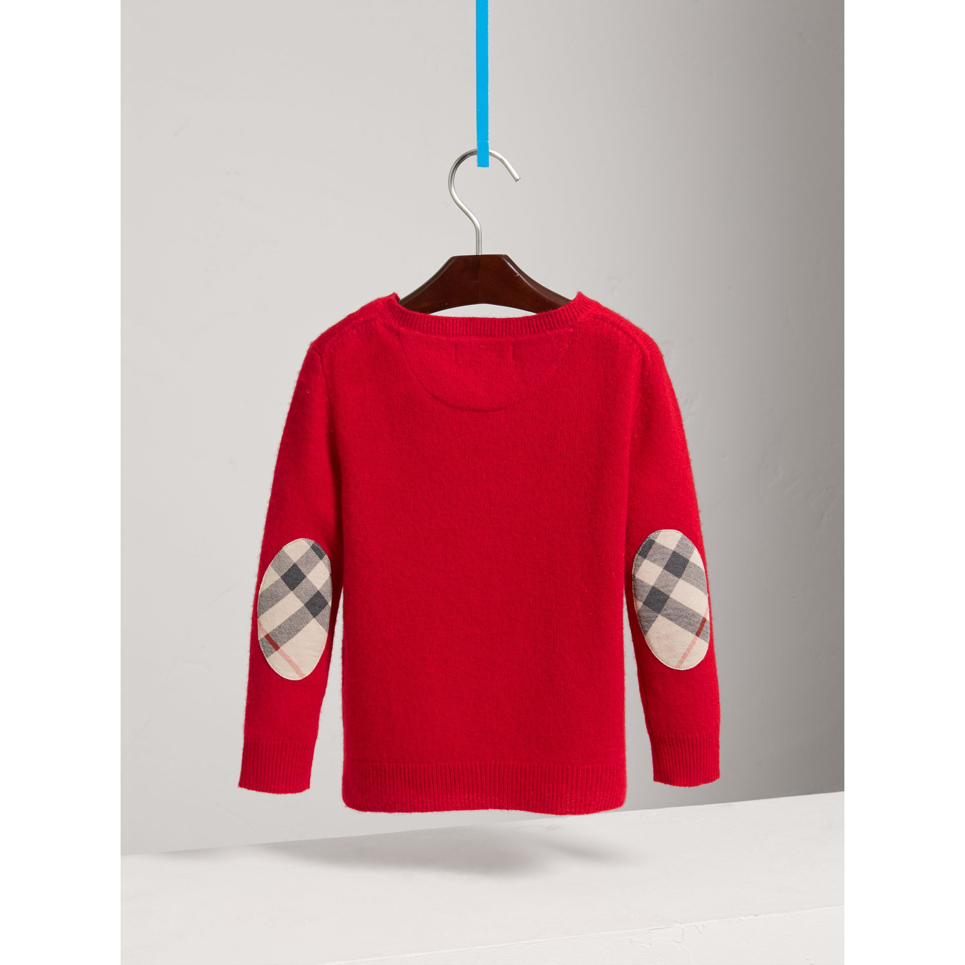 Check Elbow Patch Cashmere Sweater in Parade Red - Boy | Burberry - gallery image 3