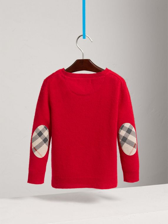 Check Elbow Patch Cashmere Sweater in Parade Red - Boy | Burberry United Kingdom - cell image 3
