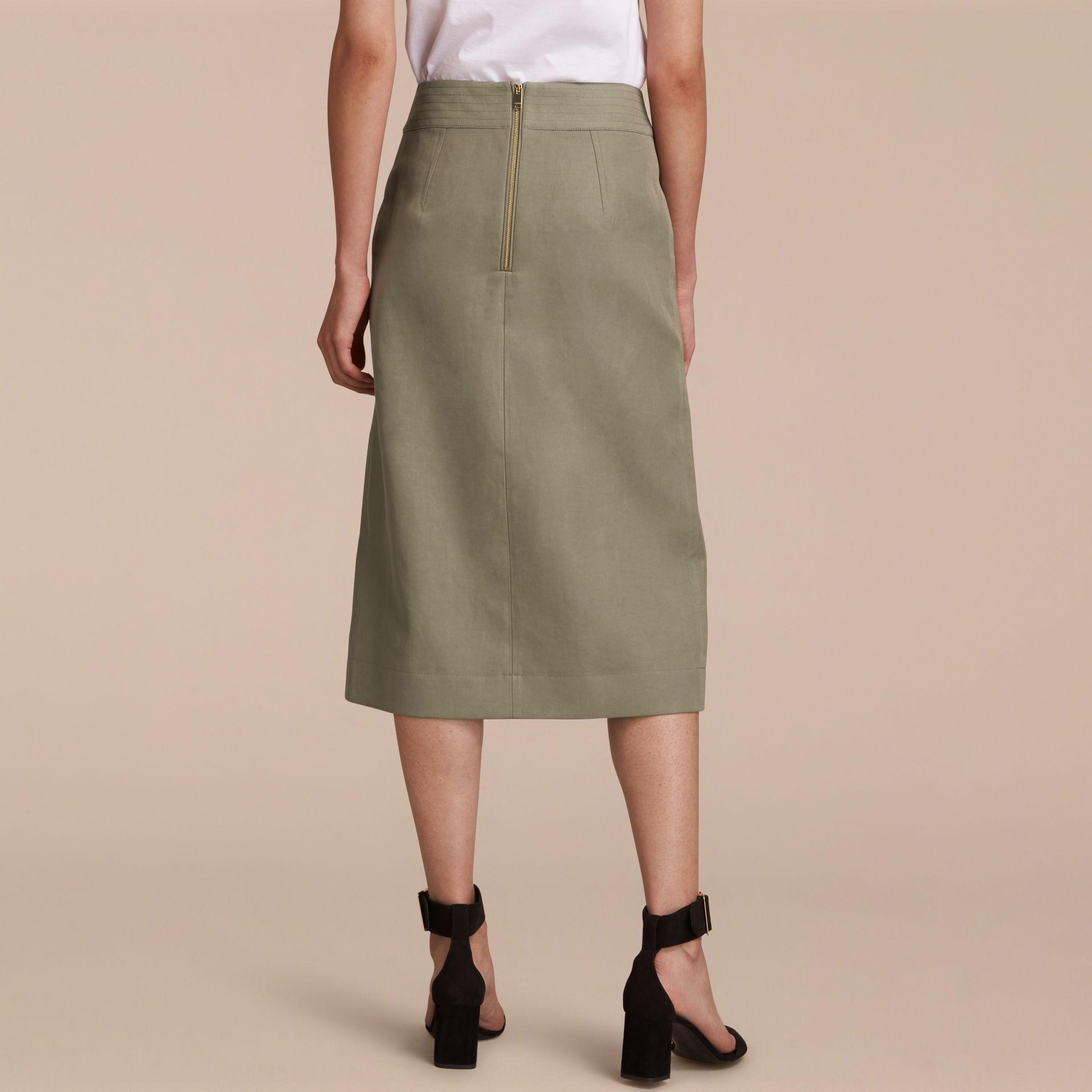Inverted Pleat Ramie Cotton Skirt - gallery image 3