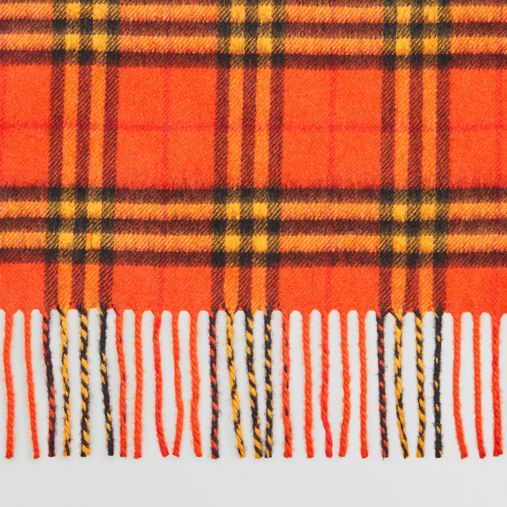 The Classic Vintage Check Cashmere Scarf in Orange | Burberry United Kingdom - gallery image 1