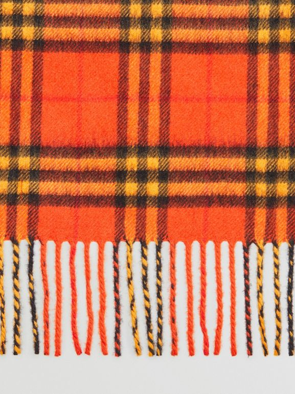 The Classic Vintage Check Cashmere Scarf in Orange | Burberry United Kingdom - cell image 1