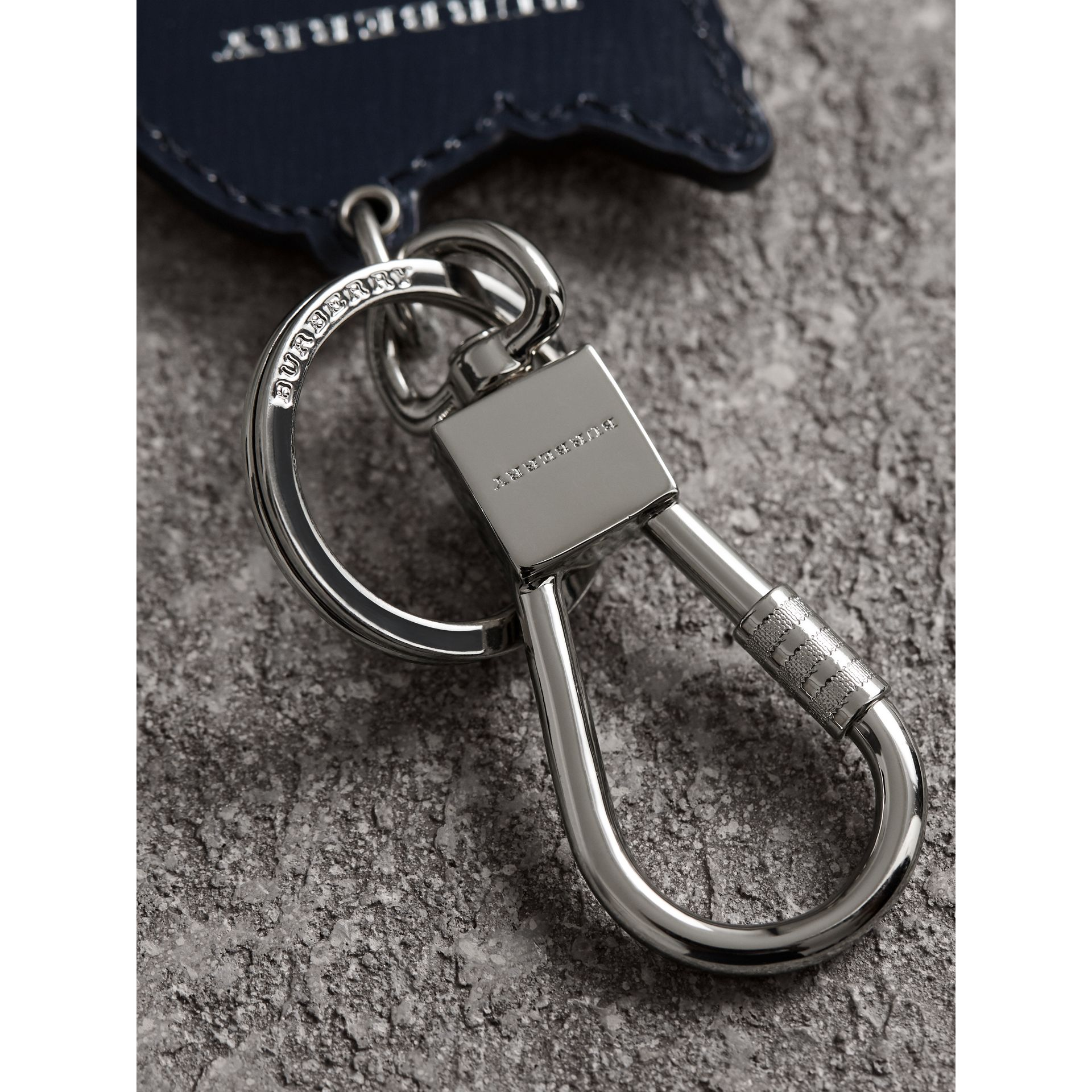 Beasts Leather Key Ring in Coral Red | Burberry - gallery image 1