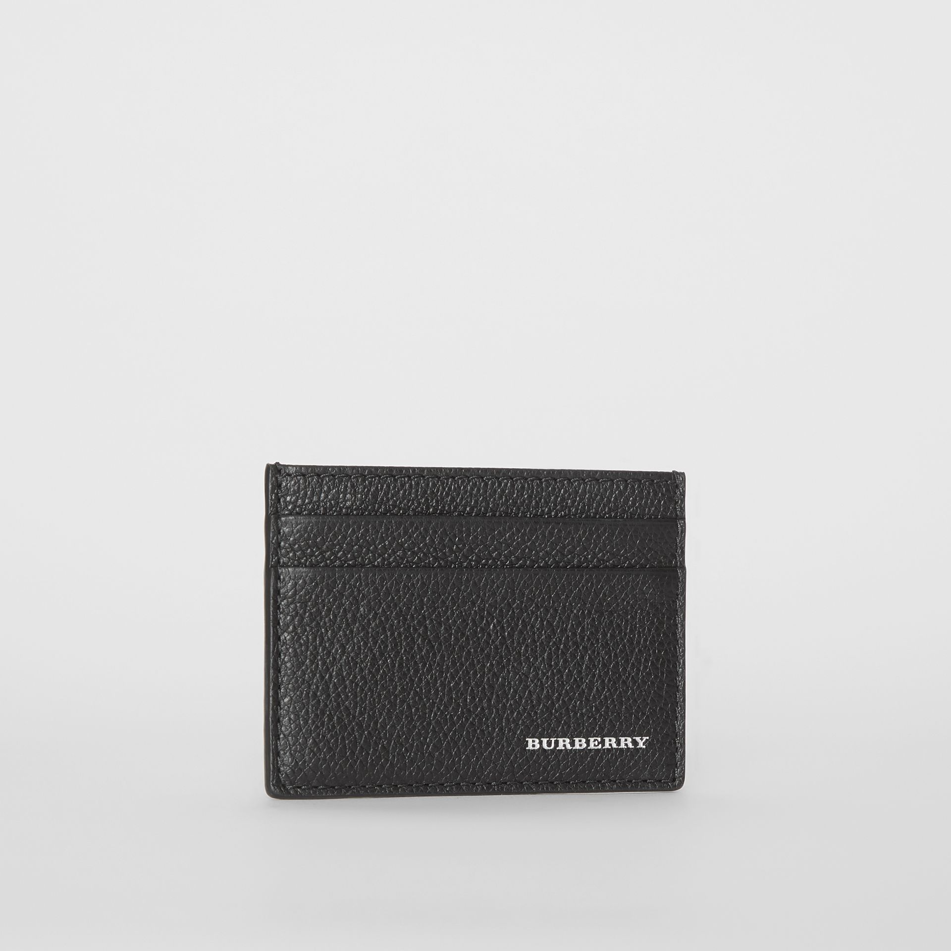 Grainy Leather Card Case in Black | Burberry - gallery image 3
