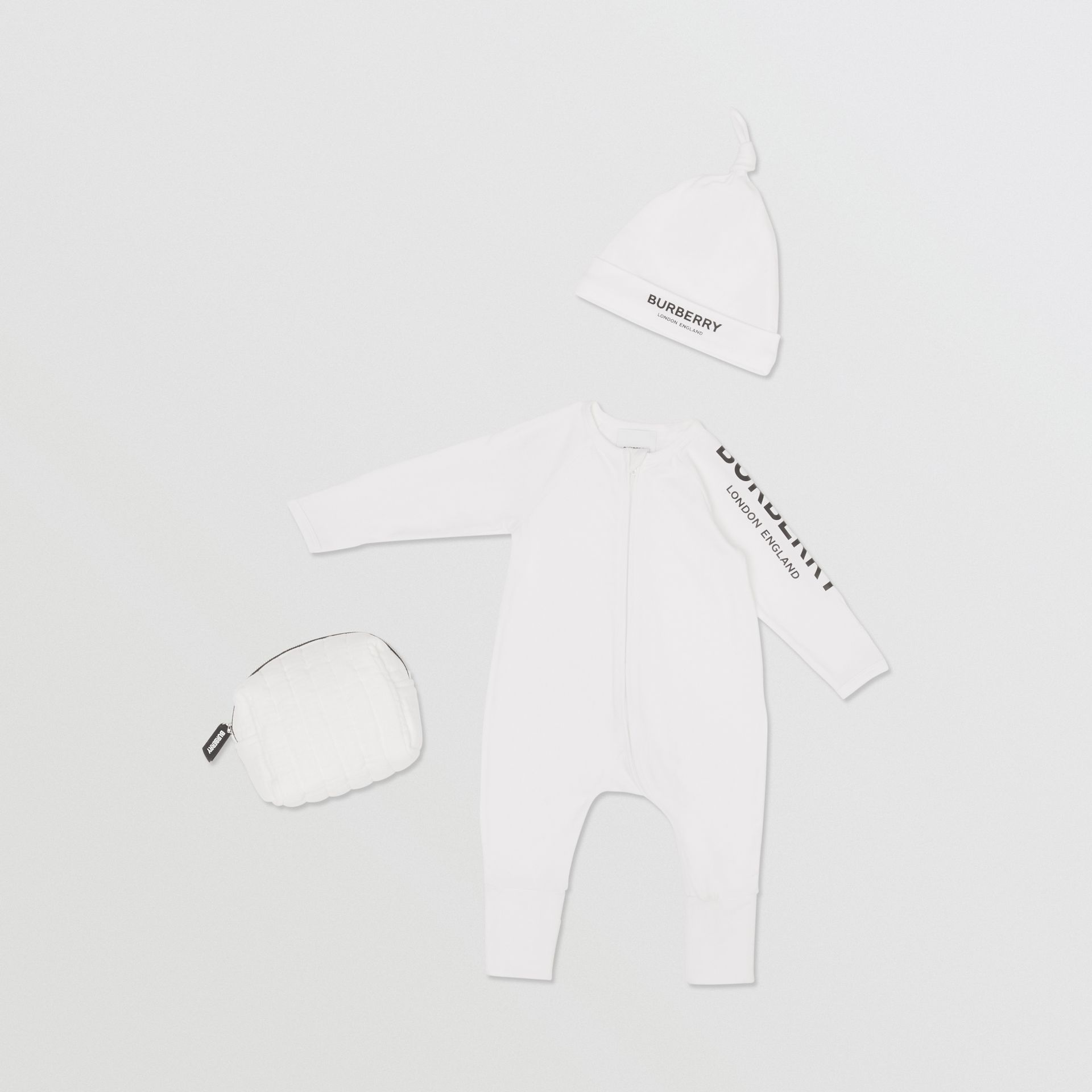 Logo Print Stretch Cotton Two-piece Baby Gift Set in White - Children | Burberry - gallery image 0