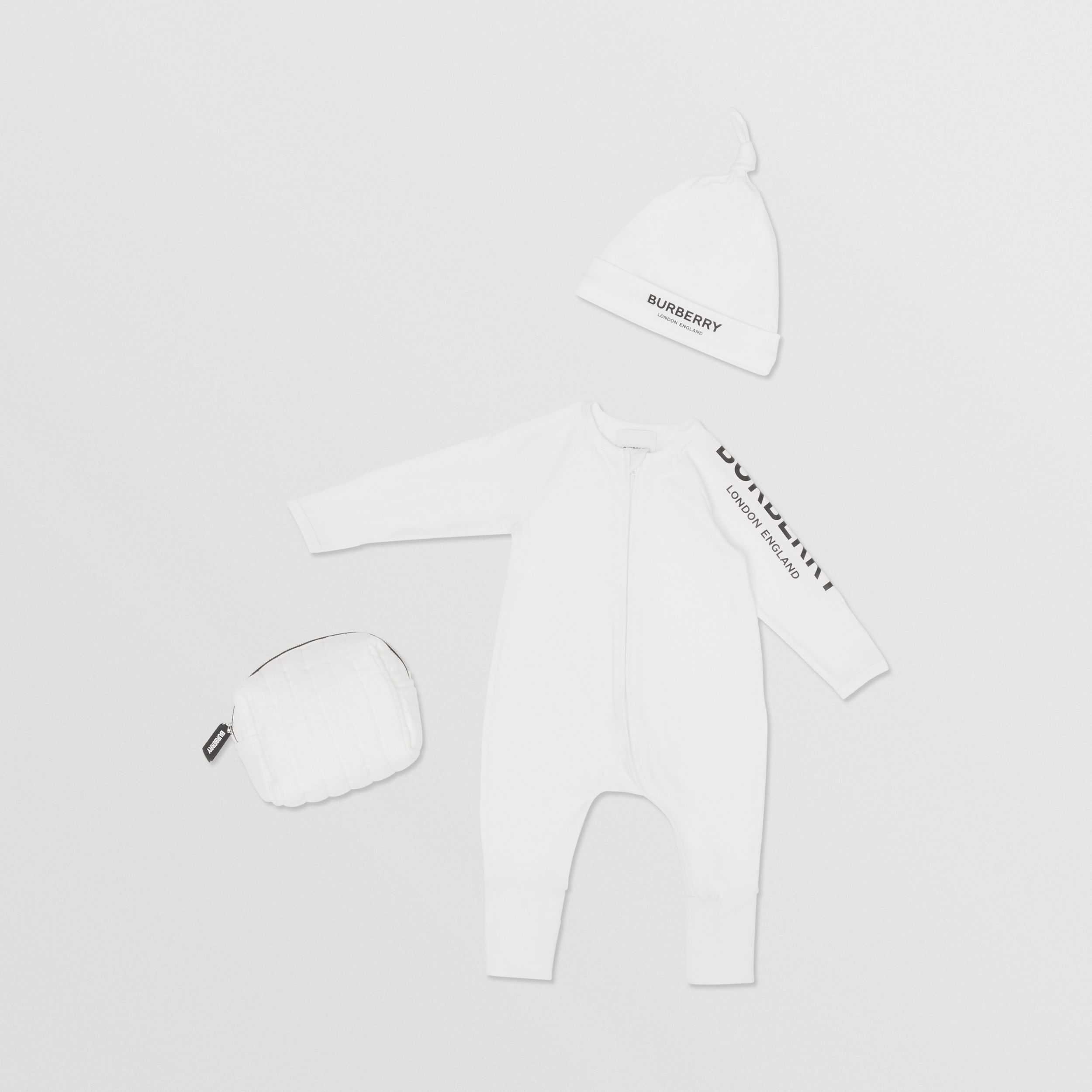 Logo Print Stretch Cotton Two-piece Baby Gift Set in White - Children | Burberry - 1