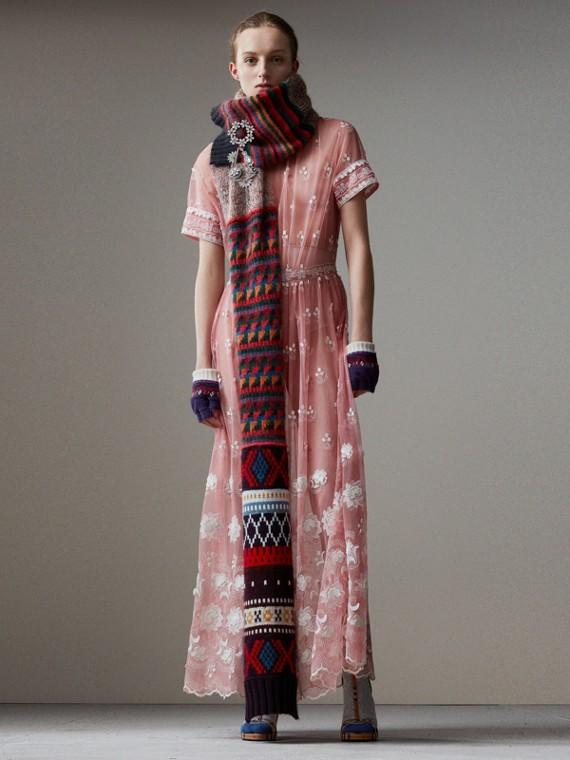 短袖刺繡薄紗洋裝 (玫瑰粉紅/白色)