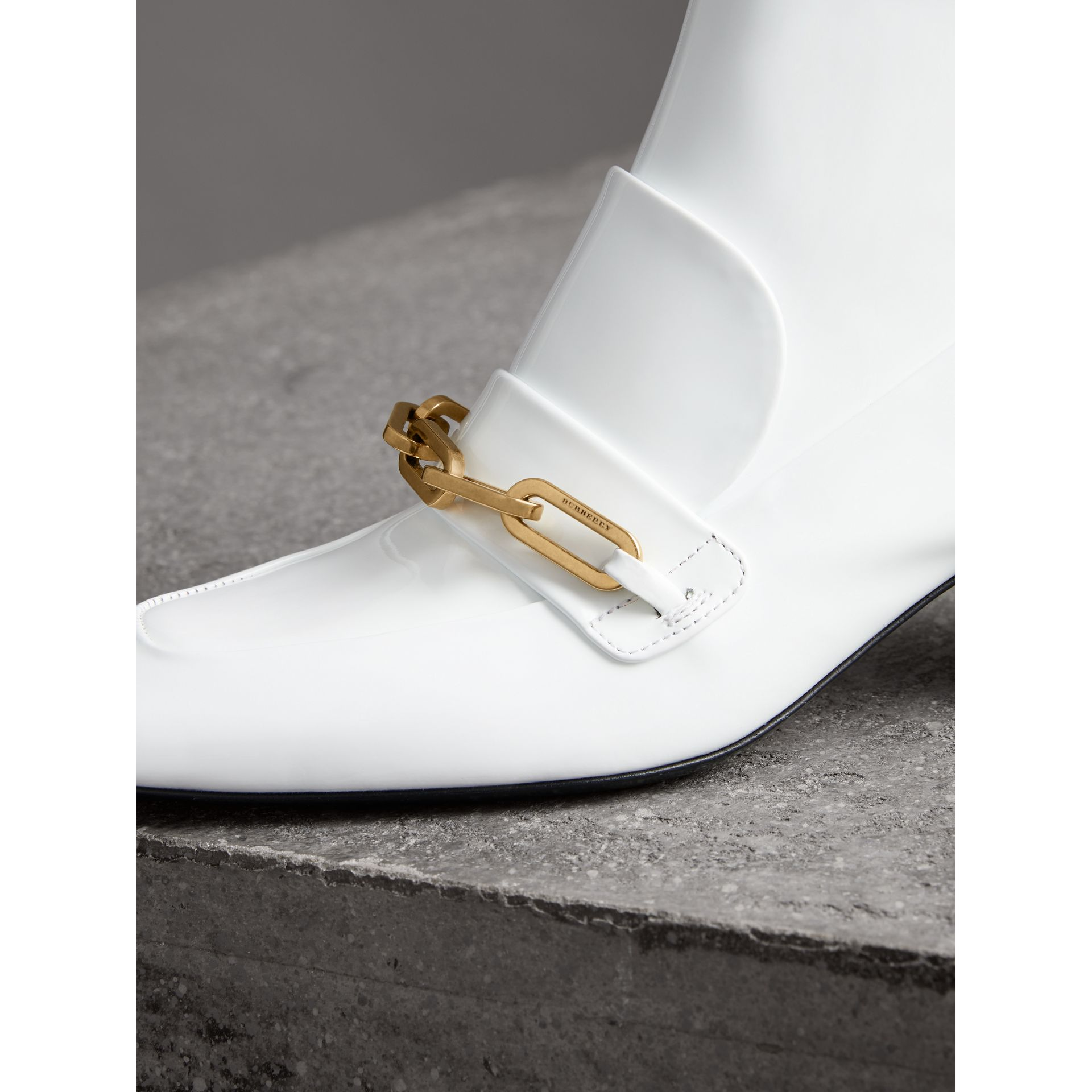 Link Detail Patent Leather Ankle Boots in Optic White - Women | Burberry Australia - gallery image 1
