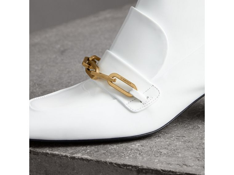Link Detail Patent Leather Ankle Boots in Optic White - Women | Burberry - cell image 1