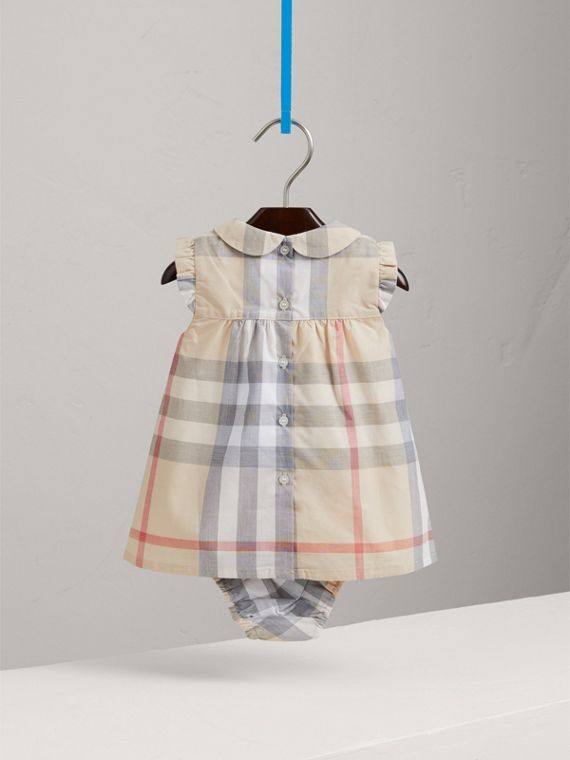 Washed Check Cotton Dress in Pale Classic - Girl | Burberry Canada - cell image 3
