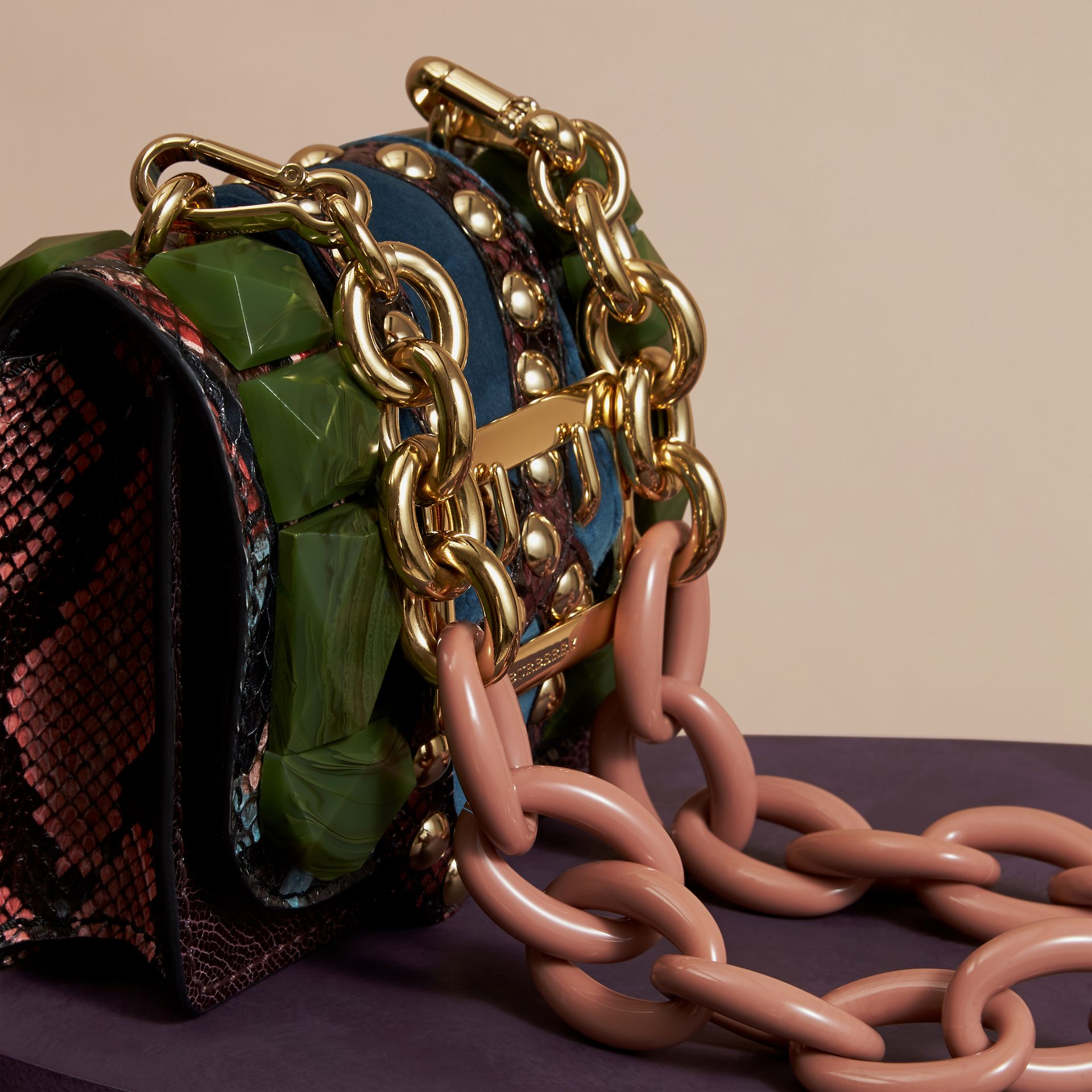Turquoise green The Mini Square Buckle Bag in Ostrich, Snakeskin and Velvet - gallery image 5