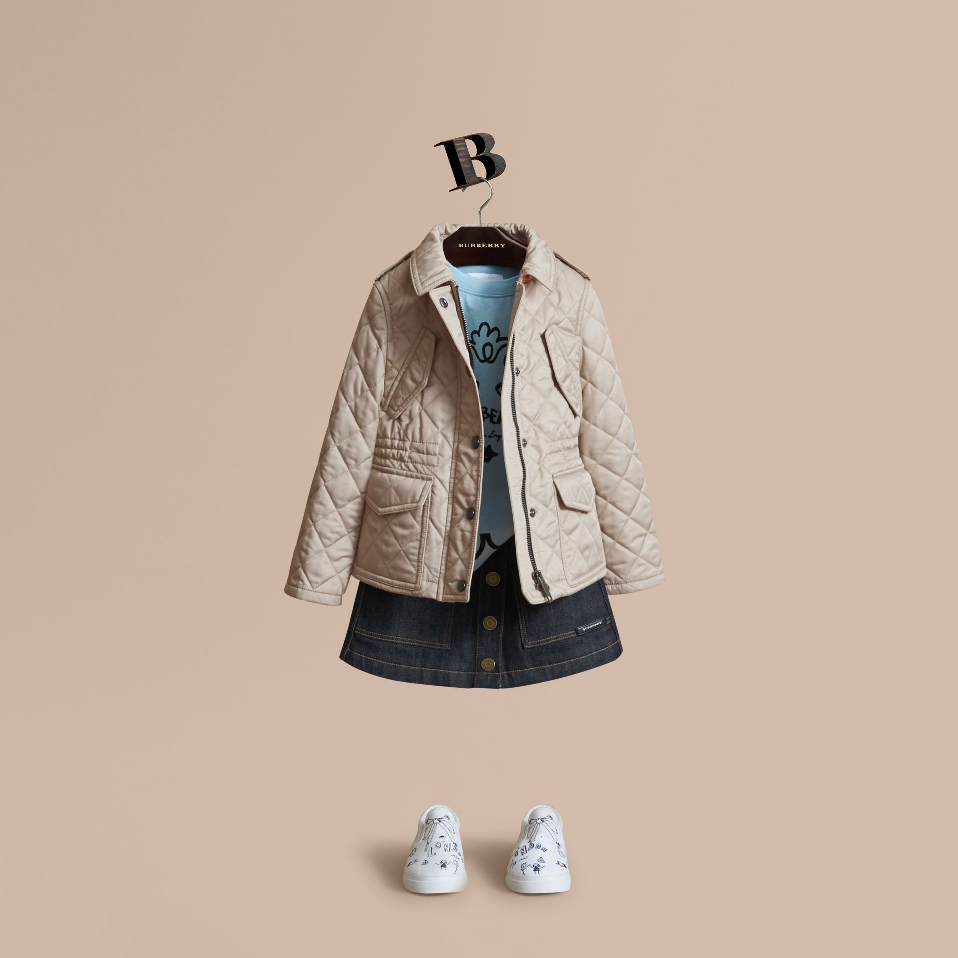 Quilted Field Jacket in Mink - Girl | Burberry - gallery image 1