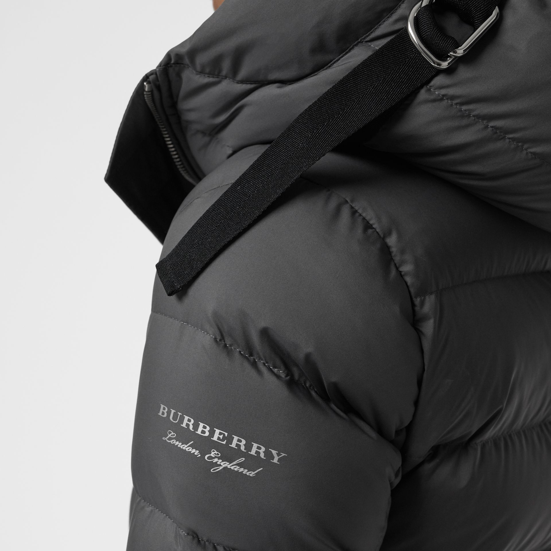 Down-filled Hooded Puffer Coat in Mid Grey - Women | Burberry United Kingdom - gallery image 1