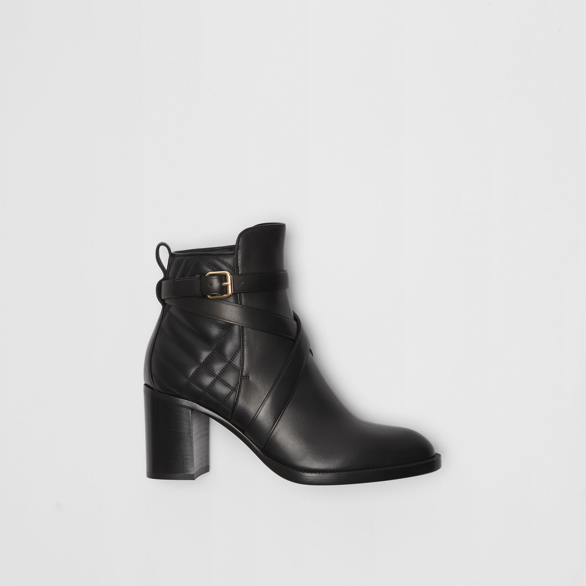 Bottines en cuir matelassé avec sangle (Noir) - Femme | Burberry Canada - photo de la galerie 0