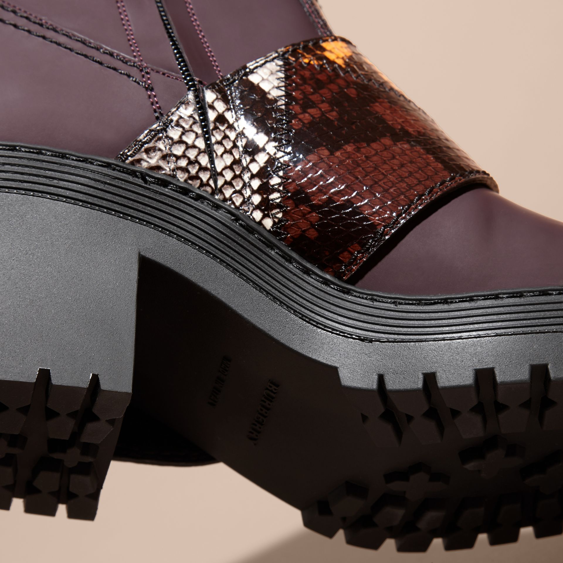 Dark claret The Buckle Boot in Rubberised Leather and Snakeskin - gallery image 5