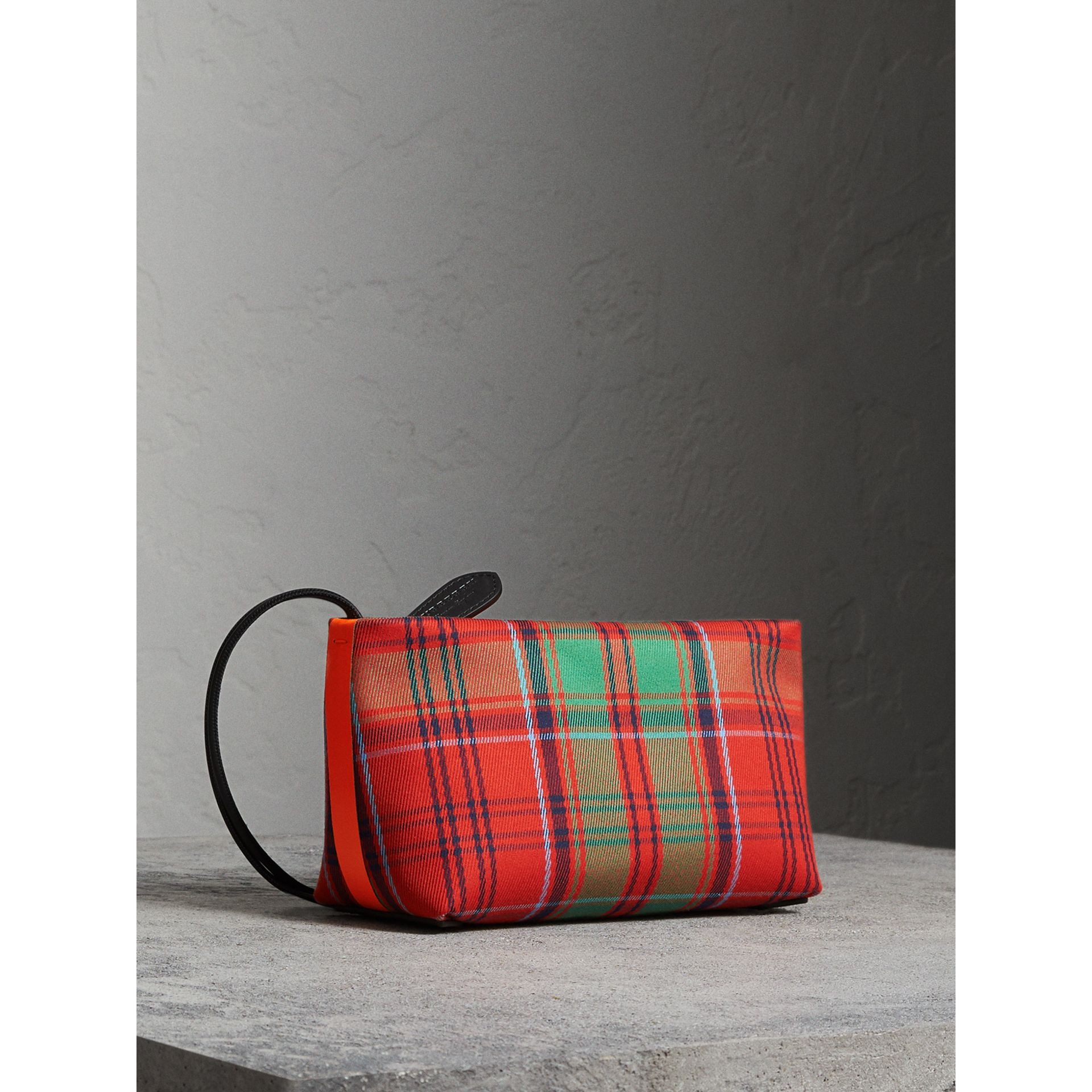 Tartan Cotton Clutch in Orange Red/vibrant Red | Burberry Australia - gallery image 0