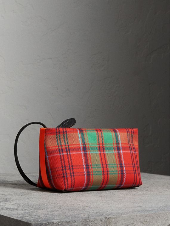Tartan Cotton Clutch in Orange Red/vibrant Red