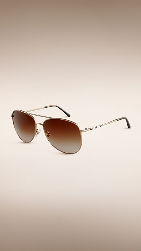 Pale gold Check Arm Aviator Sunglasses - Image 1