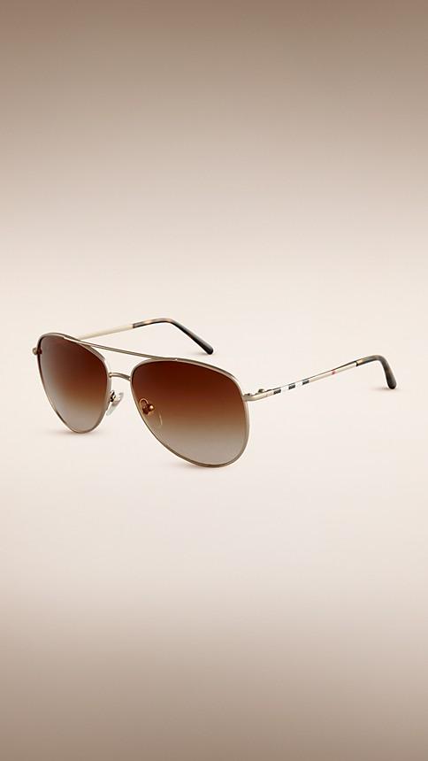 Pale gold Check Arm Aviator Sunglasses - Image 1