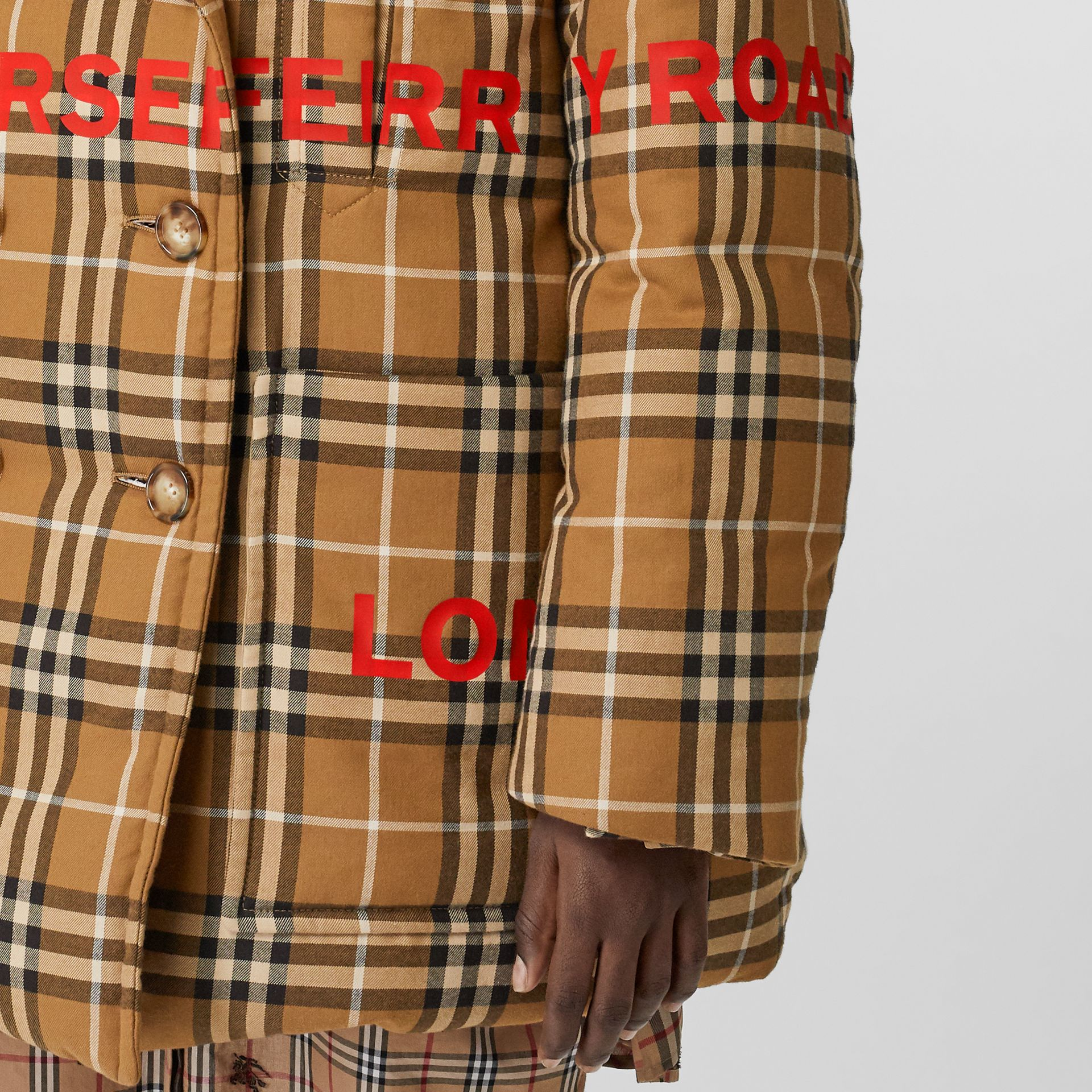 Horseferry Print Check Down-filled Oversized Pea Coat in Warm Walnut - Women | Burberry Singapore - gallery image 3