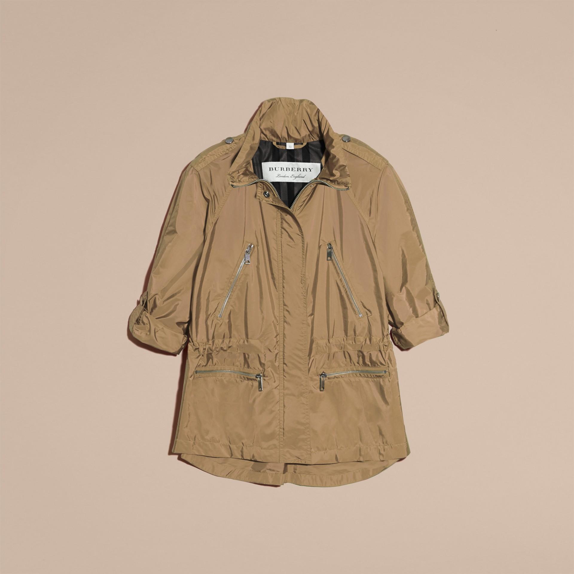 Showerproof Parka Jacket with Packaway Hood Sisal - gallery image 4